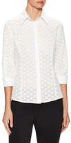 Carolina Herrera Eyelet Cotton Button Up Blouse