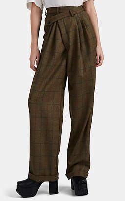 R 13 Women's Crossover Plaid Wool Pleated Trousers - Brown