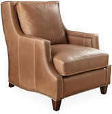 Montrose Club Chair - Tobacco Leather - Massoud - frame, walnut; upholstery, tobacco; nailheads, antiqued gold