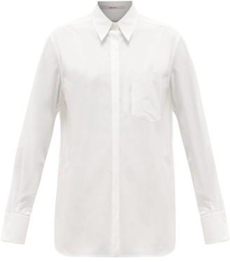 Another Tomorrow - Oversized Chest-pocket Organic Cotton-poplin Shirt - White