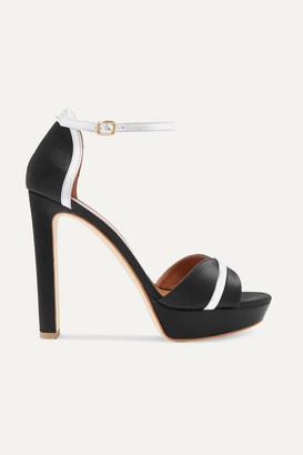 Malone Souliers Miranda 125 Metallic Leather-trimmed Satin Platform Sandals - Black