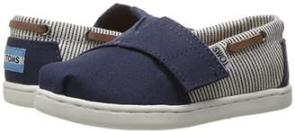 Toms Kids Kids Bimini (Infant/Toddler/Little Kid) (Navy Canvas/Stripes) Kids Shoes