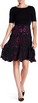 NUE by Shani Crew Neck Floral Laser Cut Dress