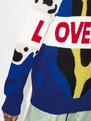 Charles Jeffrey Loverboy Yellow Jacquard Knit Logo Sweater
