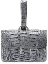 Nancy Gonzalez Crocodile Looped Clutch Bag w/Wristlet Strap, Distressed Gray