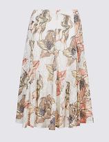 Classic Floral Burnout Print A-Line Midi Skirt