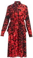Preen Line Felicity Floral-print Crepe De Chine Dress - Womens - Black Red