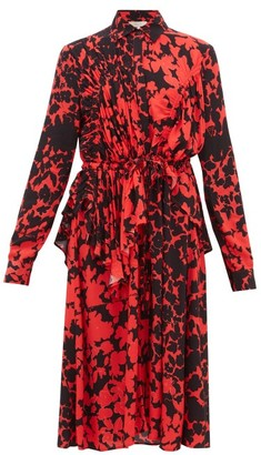 Preen Line Felicity Floral-print Crepe De Chine Dress - Black Red