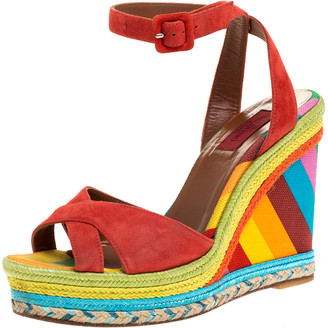 Valentino Multicolor Suede Leather 1973 Espadrille Wedge Ankle Strap Sandals Size 38.5