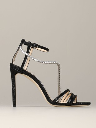 Jimmy Choo High Heel Shoes Sandal Thaia Lurex With Rhinestones