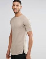Asos Longline Muscle T-Shirt In Waffle With Side Zips In Beige
