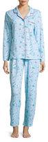 Karen Neuburger Long Sleeved Button Tee and Pajama Pants Set