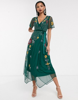 Frock and Frill short sleeve embellished wrap midi dress