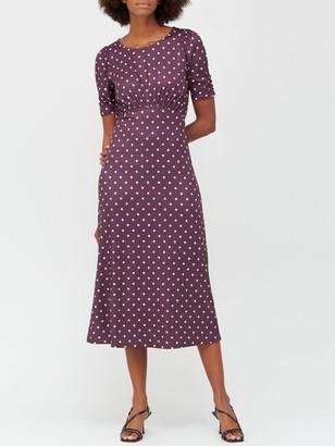 Very Curved Waist Seam Jersey Midi Dress - Burgundy Polka Dot Print