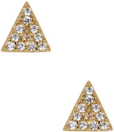 Argentovivo 18K Gold Plated Sterling Silver Pave Crystal Triangle Stud Earrings