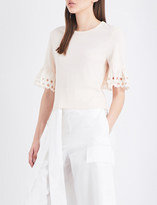 See by Chloe Cuff-embroidered cotton-jersey top