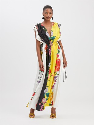 Oscar de la Renta Floral Stripe Maxi Dress