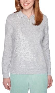 Alfred Dunner Lake Geneva Polo-Collar Sweater