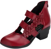 Zoulee Women's Pointed Toe Flowers Leather High-heeled Sandals Straps Roman Shoes //CH 37
