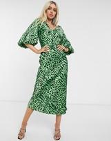 Asos Design DESIGN satin bias maxi dress with puff sleeves in neon animal