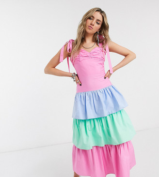 House Of Stars tie shoulder maxi dress with rainbow tiered skirt
