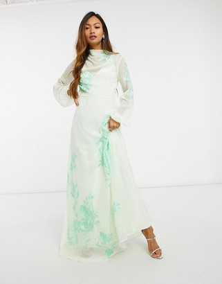 ASOS DESIGN high neck embroidered maxi dress in soft Mint