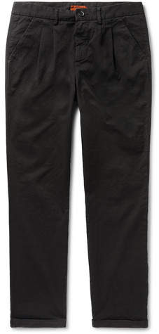 Barena Vettor Stino Tapered Pleated Stretch-cotton Twill Trousers - Black