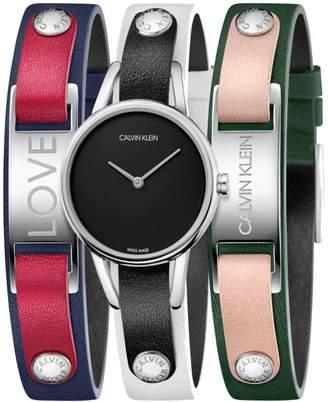 Calvin Klein #Mycalvins Leather Watch Boxed Set