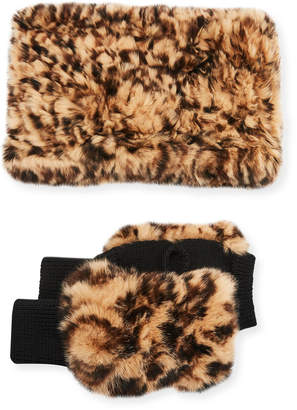 Jocelyn Texty Time Fur Gloves & Snood Scarf Set