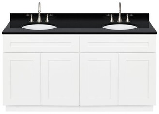 "Alpina Streicher 60"" Double Bathroom Vanity Set Winston Porter Base Finish White, Top Finish: Absolute Black"