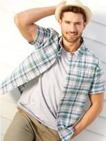 M&Co Green check short sleeve shirt