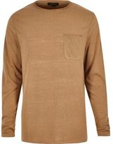 River Island MensLight brown long sleeve t-shirt