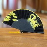 Silk Cotton Blend Fan Dragon Motifs Black and Gold Indonesia, 'Dragon's Breath'