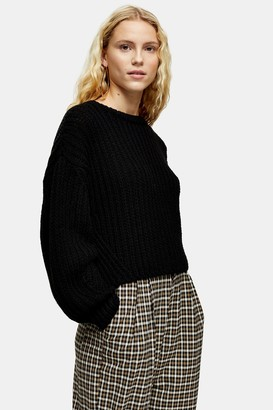 Topshop Womens Black Knitted Cropped Jumper With Wool - Black