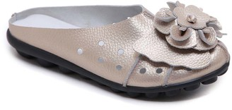 Rumour Has It Women's Mules Gold - Gold Floral Accent Leather Mule - Women