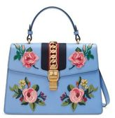 Gucci Sylvie Embroidered Leather Top-Handle Bag
