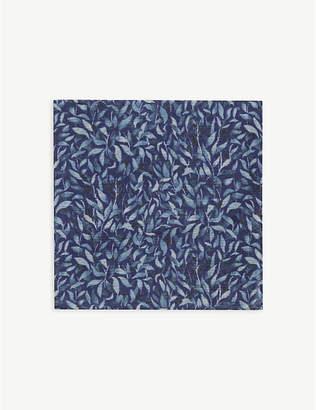 Eton Leaf print silk pocket square