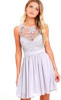 LuLu*s Jolly Song Grey Lace Skater Dress
