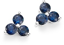Bloomingdale's Sapphire Three Stone Stud Earrings in 14K White Gold - 100% Exclusive