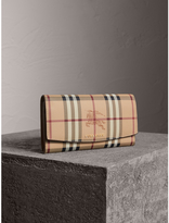 Burberry Haymarket Check and Leather Slim Continental Wallet, Beige