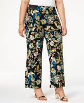 INC International Concepts Plus Size Floral-Print Pull-On Pants, Created for Macy's