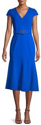 Calvin Klein Belted Cap-Sleeve Flare Dress