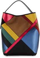 Burberry Ashby Medium Patchwork Check Hobo Bag, Teal Blue