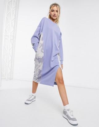 Monki Coba organic cotton knitted side print midi dress in light blue