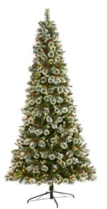 Nearly Natural Frosted Swiss Pine Artificial Christmas Tree with 700 Clear Led Lights and Berries