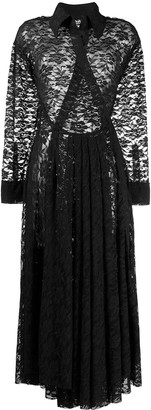 Norma Kamali shirt flared lace dress