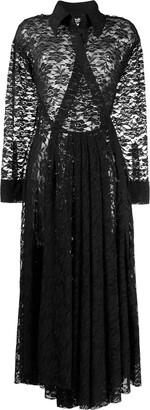 Norma Kamali Shirt Flared Lace Dress