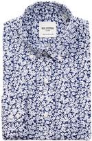 Ben Sherman Blue & White Floral Print Tailored Skinny Fit Dress Shirt