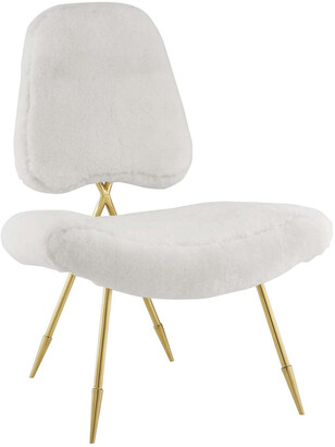 Modway Ponder Upholstered Sheepskin Fur Lounge Chair