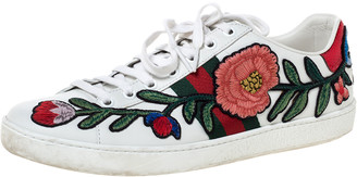 Gucci White Floral Embroidered Leather Ace Low Top Sneakers Size 38.5